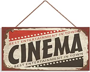 MAIYUAN Retro Cinema Sign, Rustic Decor, Movie Theater Decor, 10x5 Sign, Wall Plaque, Entertainment, Movie Night(JG1107)