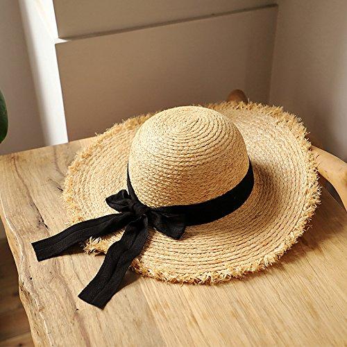 Solar como Sombrero Al Sol Paja De Muestra Mar Tamaño Wlg Mujer Playa un Protección Se Suave Cubierta Cara Salvaje c6qWYdcf7A
