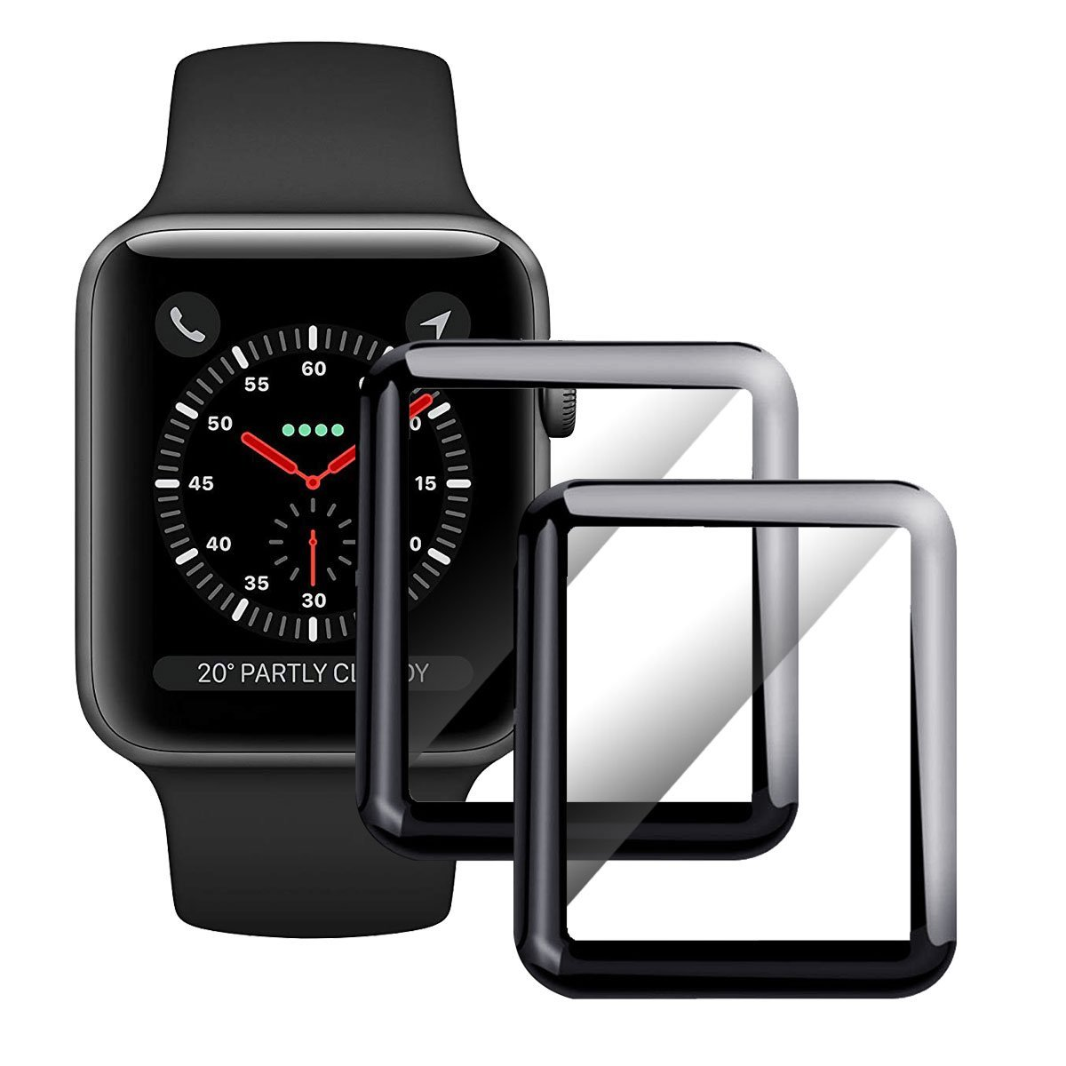 Moresky Compatible with Apple Watch Screen Protector 42mm Tempered Glass for iWatch Series 3/2/1, [3D Curved Edge] [Full Coverage] [Anti-Scratch] [High Definition] (2 Pack, Black)
