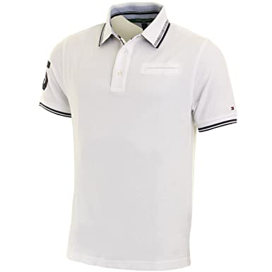 Tommy Hilfiger Hombre Jesse SS Pique Polo Camiseta Blanco: Amazon ...