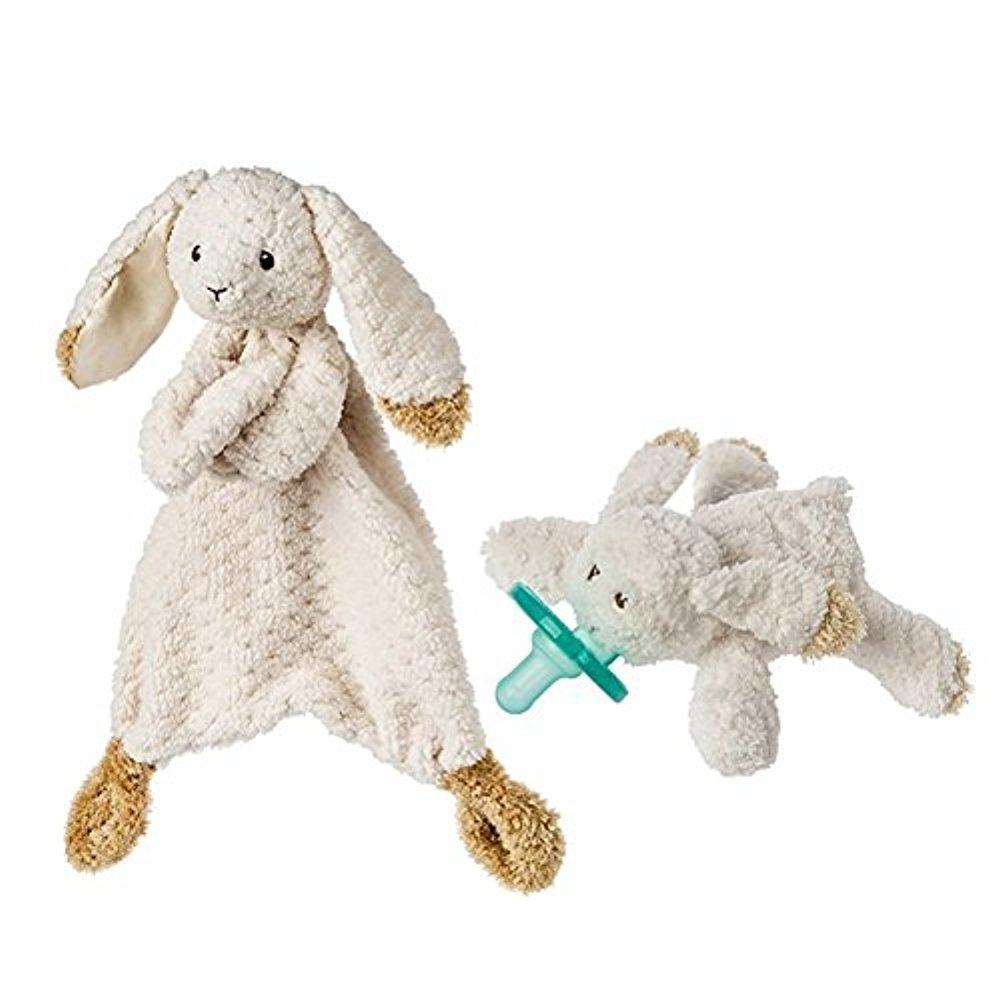 Mary Meyer Oatmeal Bunny WubbaNub Infant Pacifier and Lovey Blanket Bundle