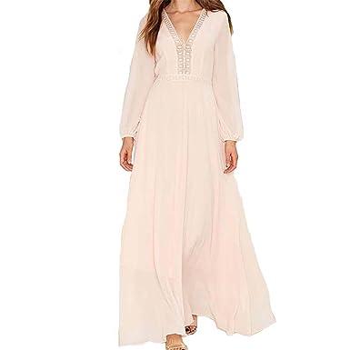 HBYJY Fashion Bohemian estilo V-neck manga longa elegantes vestidos de cintura alta vestido mulheres