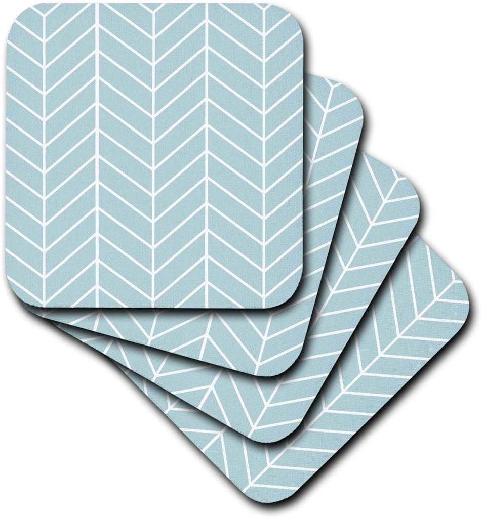 Set of 4 3dRose cst/_179814/_3 Mint Blue Herringbone Pattern-Modern Arrow Feather Inspired Design-Ceramic Tile Coasters