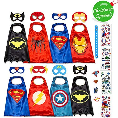 Dropplex Superhero Capes for Kids Set - Super Hero Toys & Costumes Birthday Party Supplies (8 Pack Boys) -