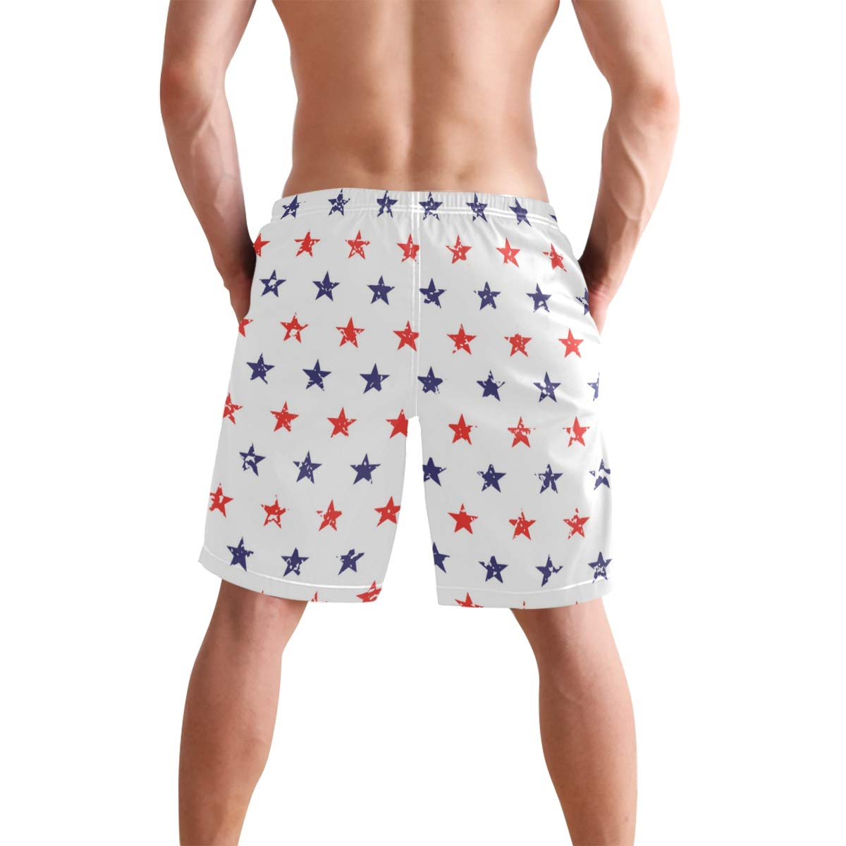 KVMV 3D Red Fire and Rescue Truck Quick Dry Beach Shorts