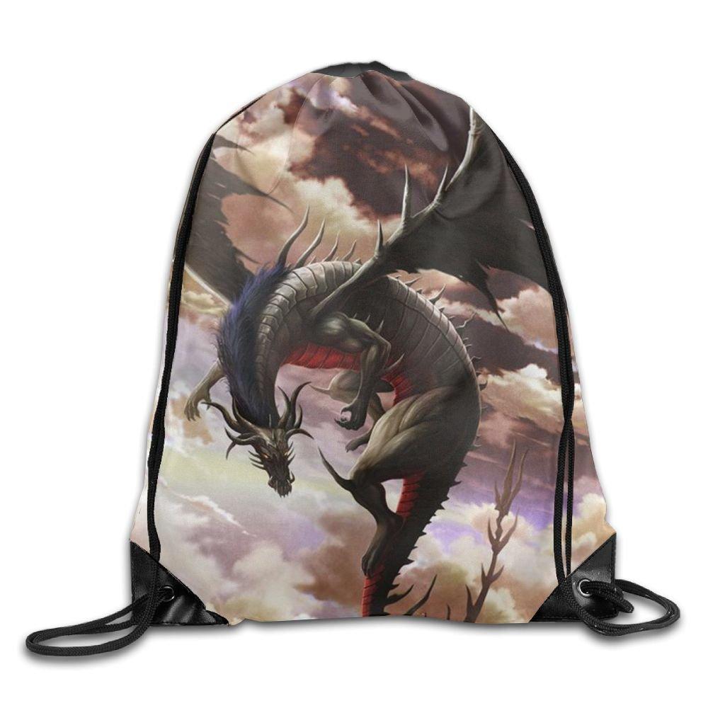 ドラゴン自由巾着バッグバックパックビーチプル文字列袋バッグ B07BHCNVN6