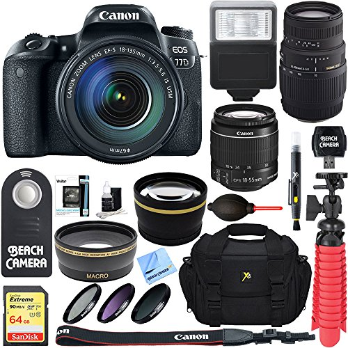 Canon Right Angle Viewfinder (Canon EOS 77D 24.2 MP DSLR Camera with EF-S 18-135mm IS USM & Sigma 70-300mm Macro Telephoto Zoom Lens + Accessory Bundle)