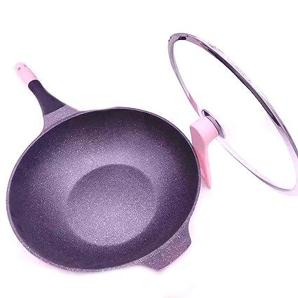 Rosa woks, Cocina Menos Humo de Aceite Sartenes antiadherentes, Tapa de