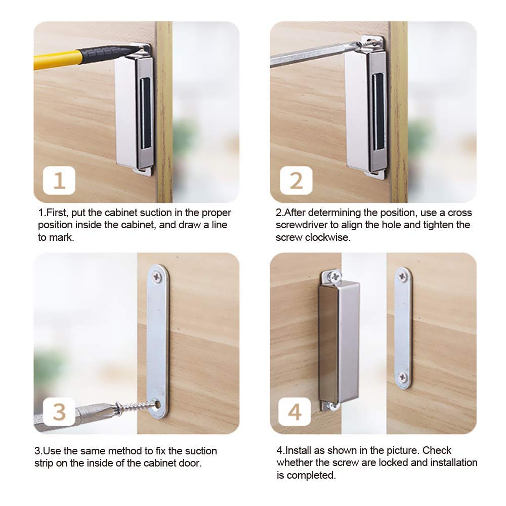 2Pieces Cupboard Magnet Cupboard Magnetic Door Catch Latch for Home Kitchen Furniture Wardrobe