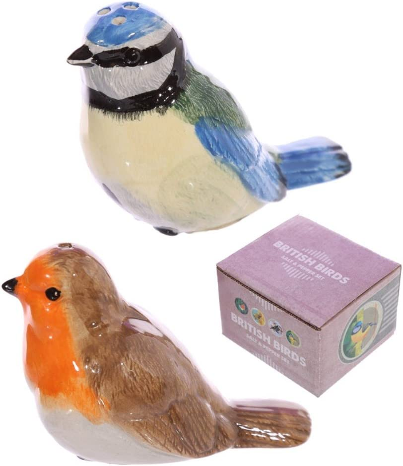 Height 6cm Width 4.5cm Depth 9cm Multi Puckator Robin and Blue Tit Salt and Pepper Pots Set SP48 6x4.5x9cm Ceramic Multicolour