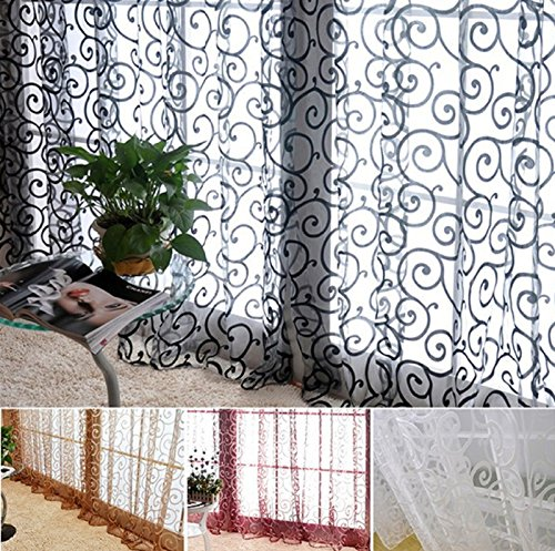 Hot Sale! Fashion Floral Tulle Voile Door Window Curtains Drape Panel Sheer Scarf Valances (200x100cm, Blue) -