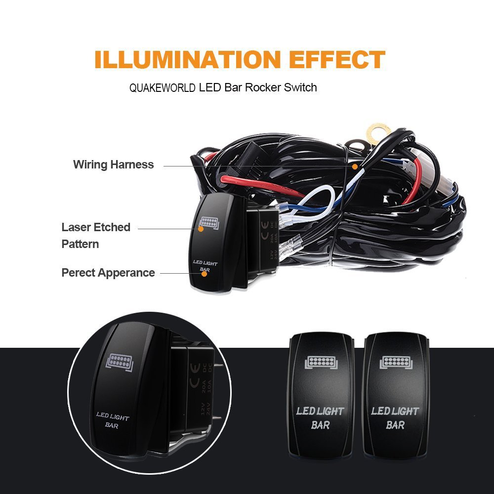 3 Leads Rocker Switch Wiring Harness Kit 40a Power Relay 30a Fuse Led Light On Off With Ce For 2 54 Offroad Work Bar Fog Heavy Duty Tractor Suv Truck Atv Boat