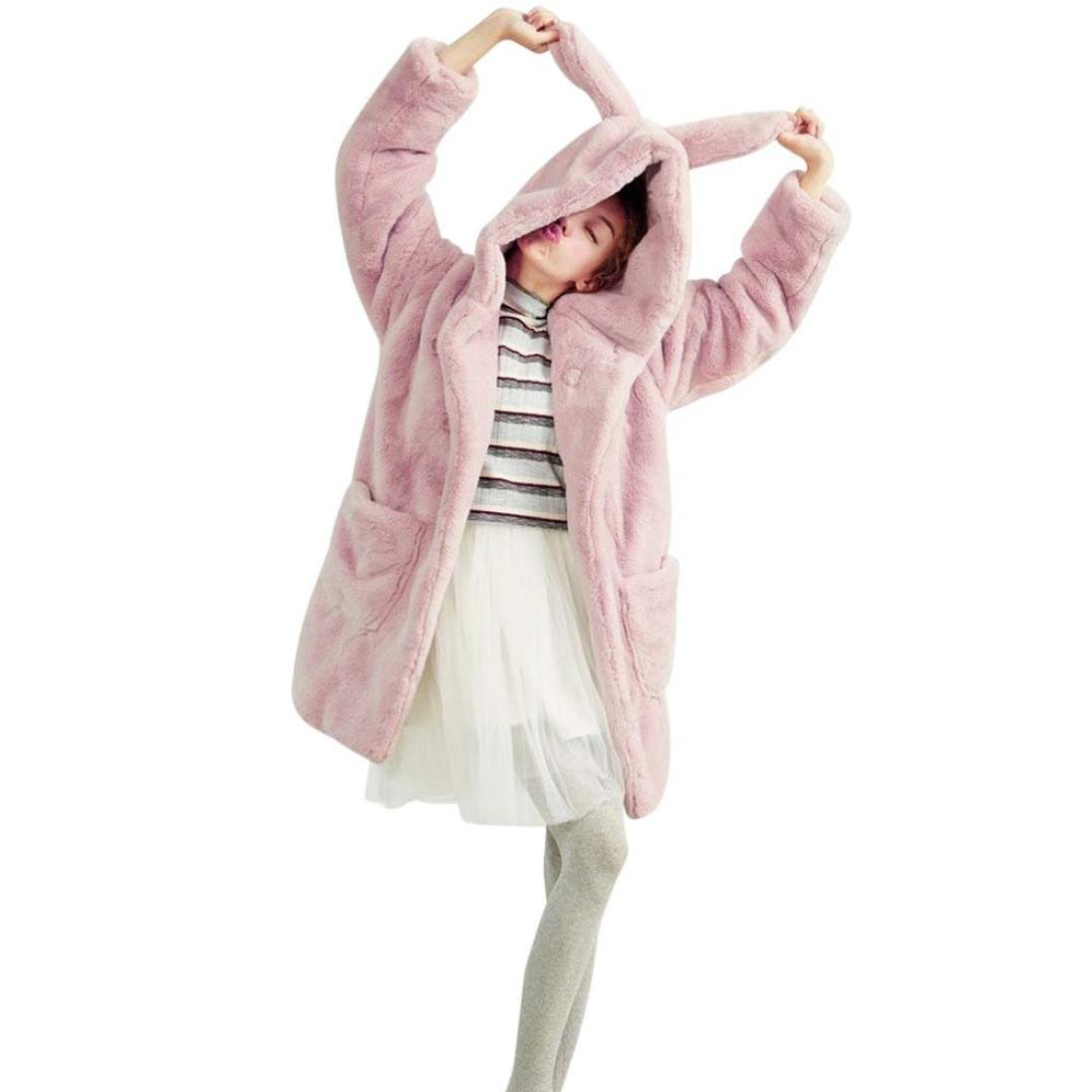 HP95(TM) Women Winter Hooded Faux Fur Long Coat Cute Plush Rabbit Ears Coat (L, Pink)