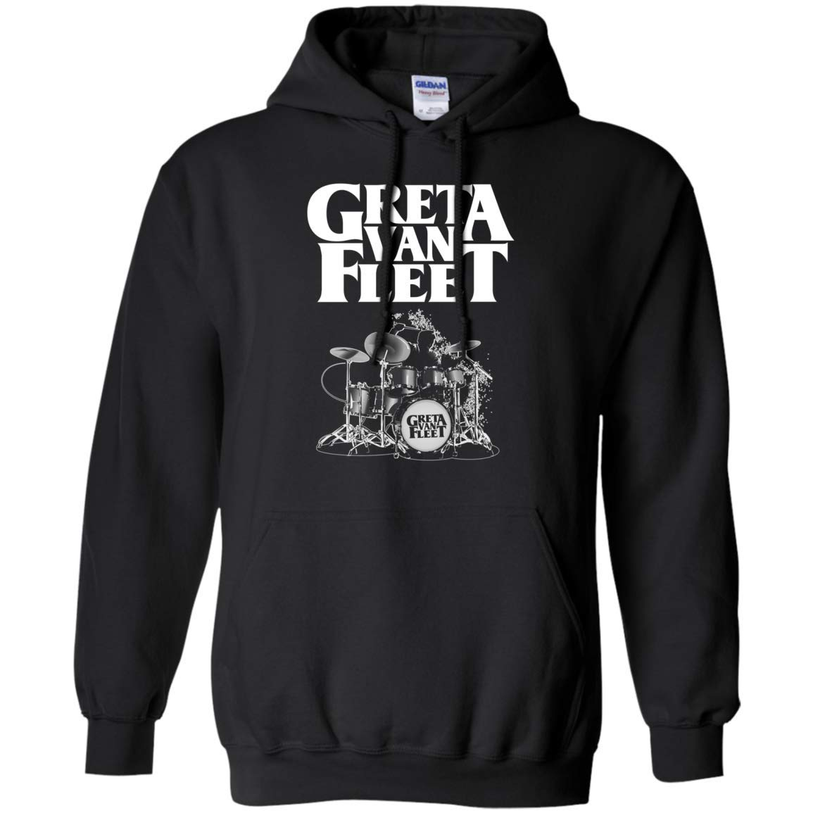 Black XXXXLarge Tee4you Greta Van Fleet Drum Hoodie