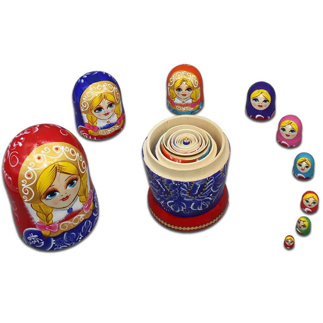 Moonmo 10pcs Blonde Cute Girl with 2 Braids Russian Nesting Dolls Gift Wishing Dolls Matryoshka Traditional by Moonmo (Image #4)