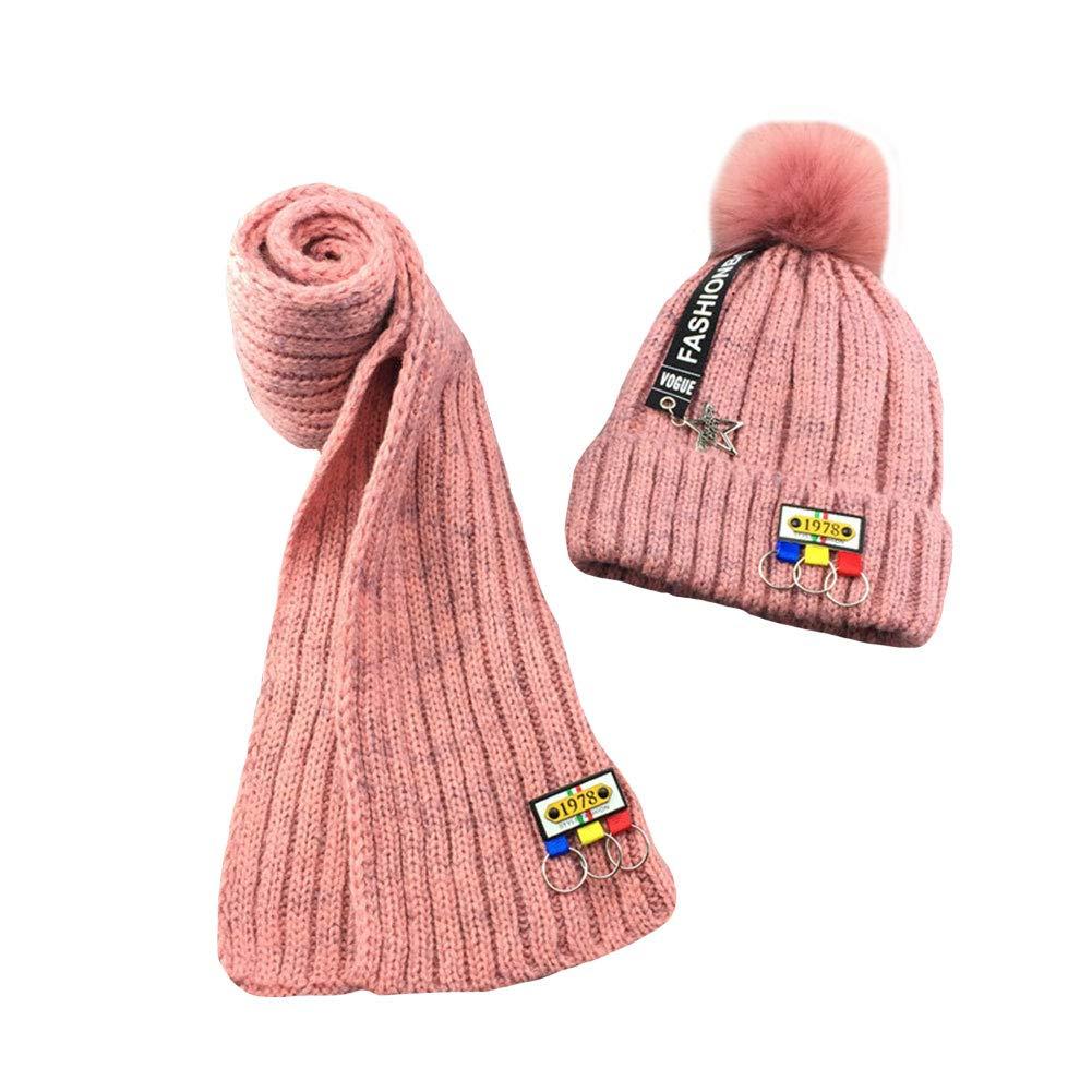 M/&A Kids Girls Boys Winter Warm Fleece Lined Hat Beanie Cap /& Knitted Scarf 2Pcs Set