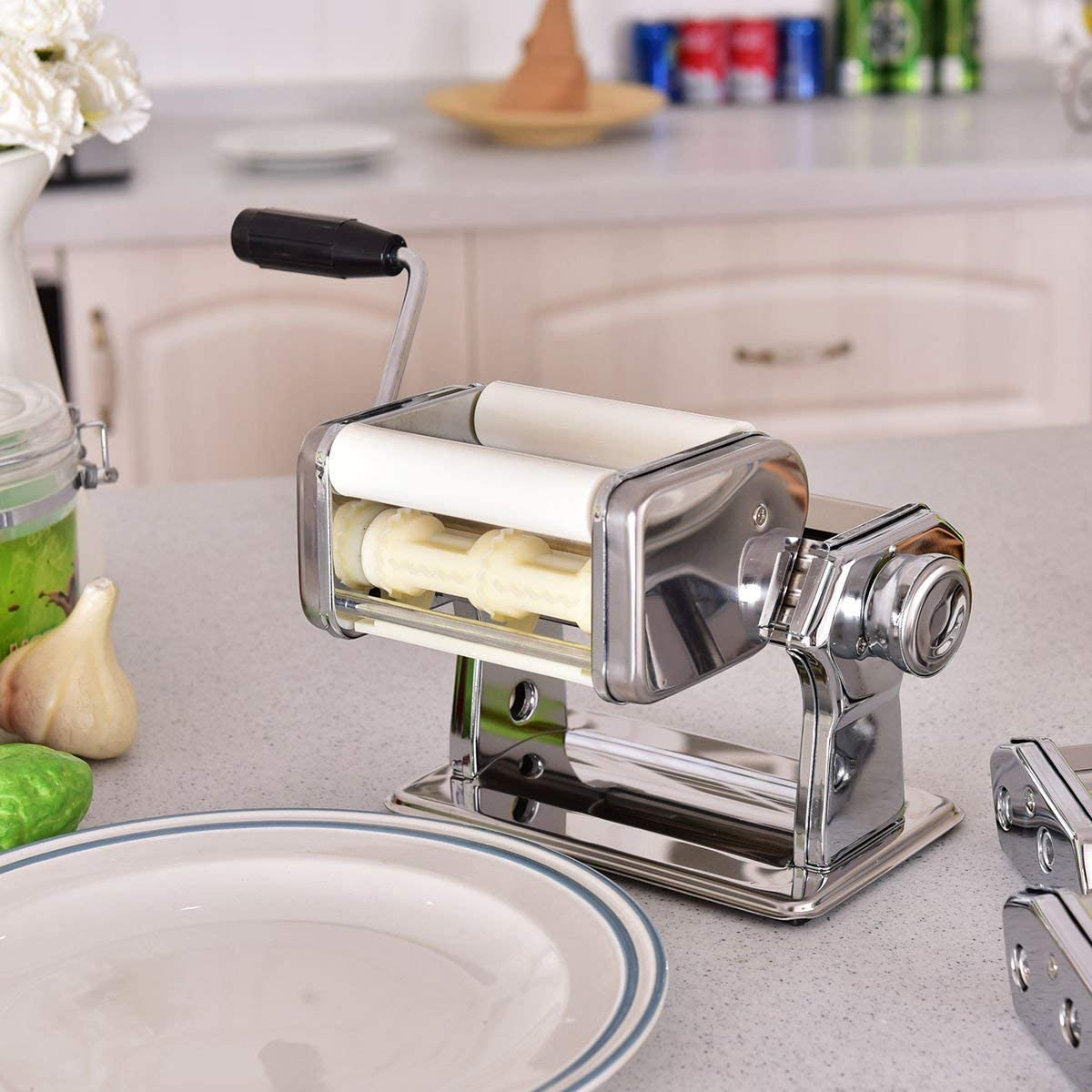 Spaghetti Maker Hand Crank with Molded Plastic Handle HAPPYGRILL Pasta Maker Machine 5 in 1 Stainless Steel Construction 7 Adjustable Thickness Settings Clamp 150 Roller Pasta Cutter