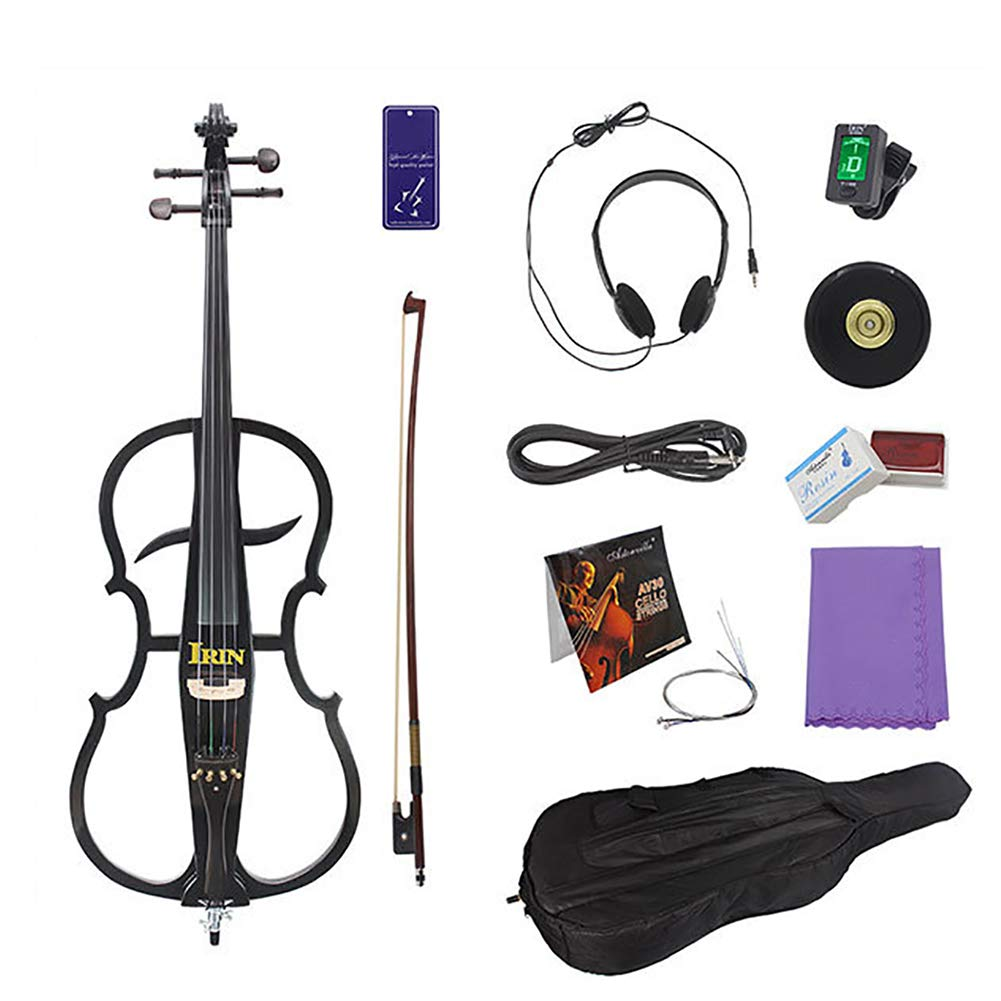 MG.QING Electric Cello Student 4/4 Cello Musical Instrument High-end Performance Professional Stage Solid Wood Electronic Cello,Black by MG.QING