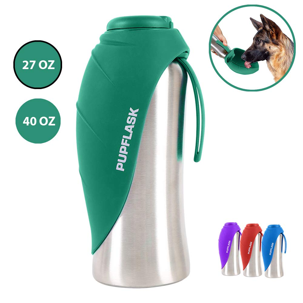 PupFlask Portable Water Bottle | 27 or 40 OZ Stainless Steel | Convenient Dog Travel Water Bottle Keeps Pup Hydrated | Portable Dog Water Bowl & Travel Water Bottle For Dogs (27 Ounce, Quetzal Green) by Tuff Pupper