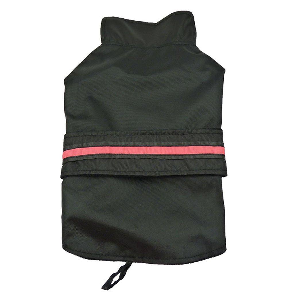 Veste Manteau Imperméable Doublure Molletonnée Vêtement à LED Rréfléchissant pour Chien Noir Taille M Générique
