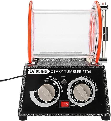 Jewelry Polisher Tumbler Mini Rotary Tumbler for Jewelry Diamond Polisher Finisher Machine Polishing Bead Cleaner US Plug KD-6808