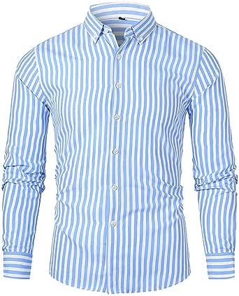Rebajas Camisas de Rayas Hombre Clásica Camisa de Vestir de ...