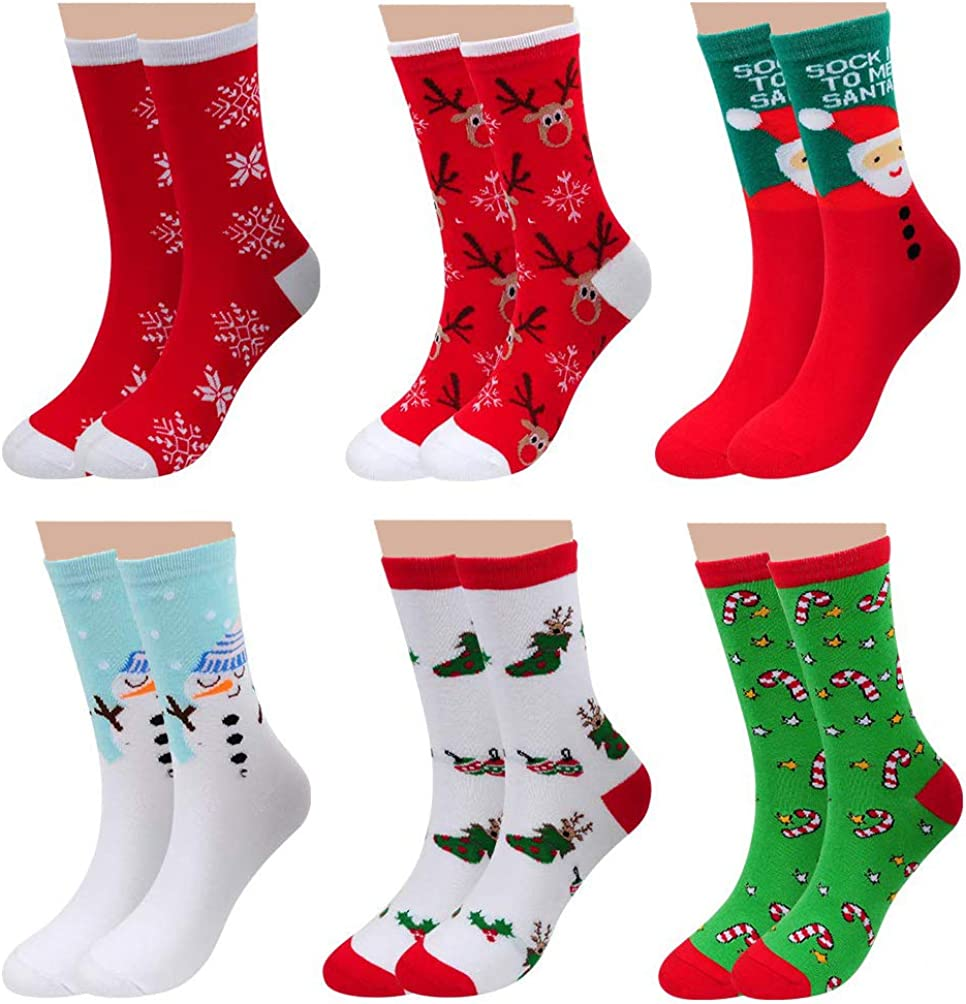 6 Pairs Womens Cute Cotton Casual Christmas Socks - Autumn Winter Funny Crew Novelty Xmas Gifts Socks for Unisex Teens