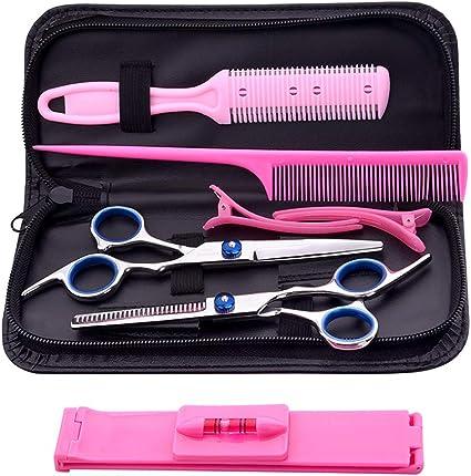 Set de tijeras de Peluquería, Alta Calidad Hair Cutting kit con Flequillo Artefacto Tijera Estuche de Cuero para corte de pelo familiar y barberías: Amazon.es: Belleza