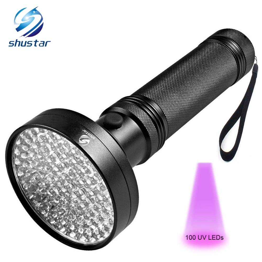 HAMISS UV Flashlight 100 LEDs 395 nm UV Detector Light for Dog Cat Urine Pet Stains Bed Bugs Scorpions Machinery Leaks Inspection by HAMISS