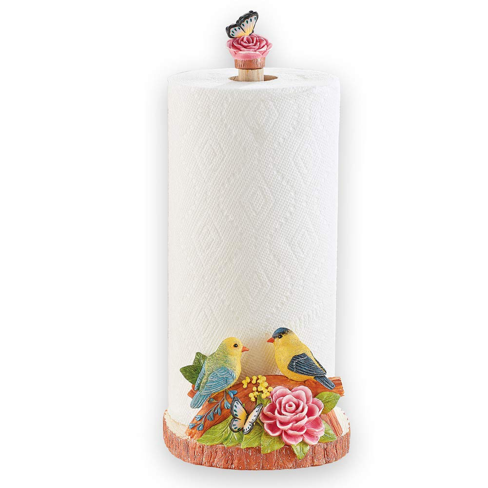 Birds and Butterfly Hand-Painted Paper Towel Holder with Flower Accent - Spring Kitchen Décor