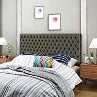Ava Tufted King/ Cal King Grey Velvet Headboard