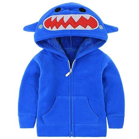 Vine Niños Niñas Chaquetas polar Abrigos con Capucha Chaquetas Deportivas, Azul 3-4 Años