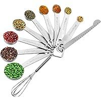 Measuring Spoons Stainless Steel, Set of 11, Includes 9 Stainless Steel Measuring Spoons, Leveler and Whisk, Teaspoon…