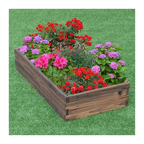 Giantex Raised Garden Bed Wood Outdoor Patio Vegetable Flower Rectangular Planter 2 🌻〖Ample Room for Planting〗- The overall dimension is 47''x24''x9''(LXWXH). This garden bed provides sufficient space for various plants growth like flowers or vegetables. Rectangular form bed which is easy and convenient for you to look after plants well inside it. 🌻〖Simple Assembling Work〗- Screws and assembly manual are included. Accurate and detailed assembling steps are presented in graphic form which is clear and easy to understand. 🌻〖Stable and Long-lasting Frame〗- This garden be is constructed with environmental friendly fir wood that is durable and stable enough to make plants grow healthily.