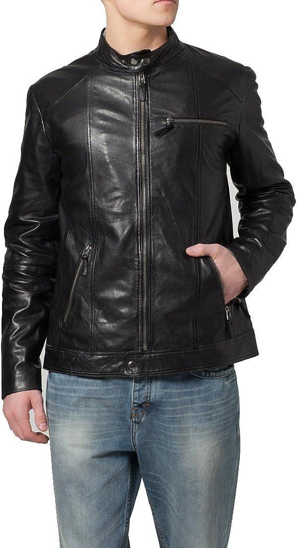 New Mens Leather Jacket Black Slim Fit Biker Motorcycle Genuine Leather Coat LTC351