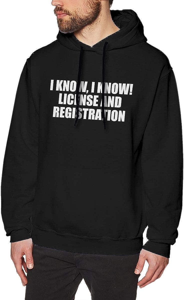 JamieBrown Mens I Know I Know License and Registration Hoodies Black with Mens Sweatshirts