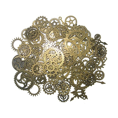 Steampunk Gears and Cogs, Suta 110 Grams Approx 80 pcs Steampunk Gears Assortment for Crafting and Jewelry Making Accessory - (Steampunk Party)
