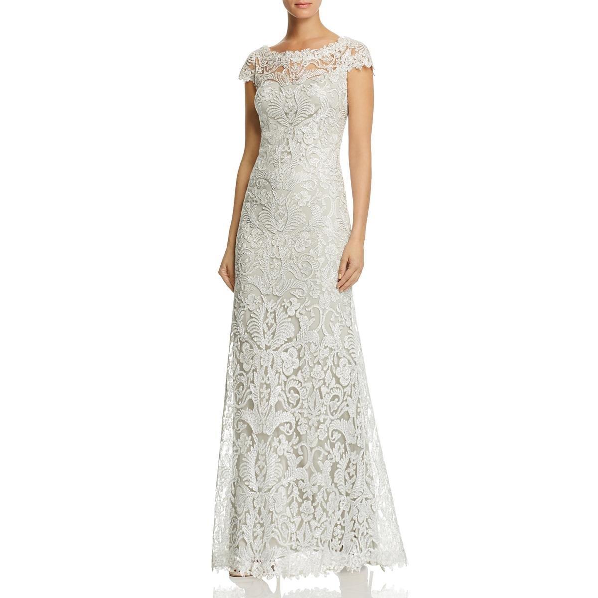Tadashi Shoji Womens Petites Gown Sleeveless Evening Dress Silver ...