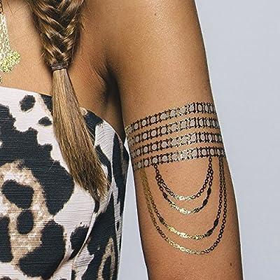 Tatuaje Temporal Tattify - Collar de Cadena Oro - Llevas Cota de ...
