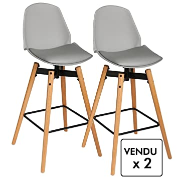 Atmosphera Lot de 2 chaises de Bar - Style scandinave - Coloris Gris ...