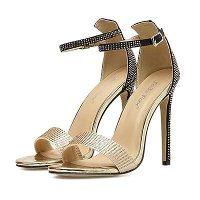 GAOLIXIA Femmes Open Toe Sandals PU Strass Boucle Métallique Glamorous Mode Ankle Strap Pompes Simple T-sangle talons hauts