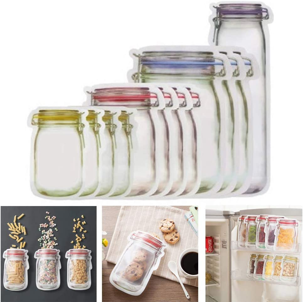 GUAGLL 10Pcs Portable Sealed Transparent Food Storage Bag Picnic Travel Snack Moisture-Proof Fresh-Keeping Bag