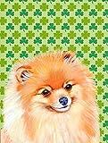 Caroline's Treasures LH9215CHF Pomeranian St. Patrick's Day Shamrock Portrait Flag Canvas, Large, Multicolor