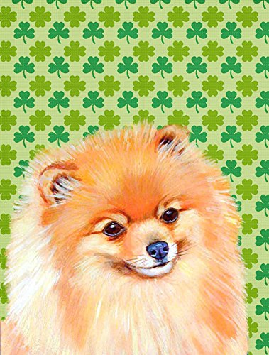 Cheap Caroline's Treasures LH9215CHF Pomeranian St. Patrick's Day Shamrock Portrait Flag Canvas, Large, Multicolor