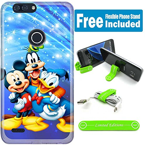 [Ashley Cases] For ZTE Blade Z Max/ZMax Pro 2/Sequoia Case Cover Case Skin with Flexible Phone Stand - mickey mouse donald duck goofy