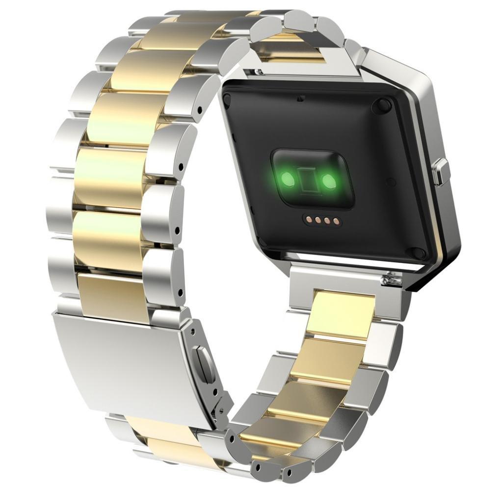 dreamyth Stailessスチールブレスレットストラップウォッチバンドfor Fitbit Blazeスマート時計ファッション  Gold +Silver B075M4FQNX