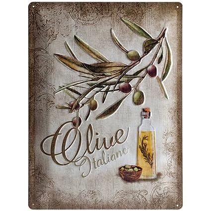 Contec Plaque de Décoration en Métal - Design Retro - Vintage Olive Italiane Nostalgic Art 23140