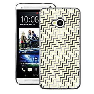 A-type Arte & diseño plástico duro Fundas Cover Cubre Hard Case Cover para HTC One M7 (Diagonal White Gold Pattern)