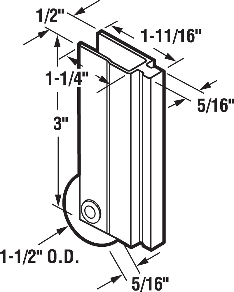 Prime-Line Products N 6598 Prime Line Bottom Mount Concave Edge Door Roller Assembly Mill 1-1//2 1-1//2 in Dia X 5//16 in W Nylon