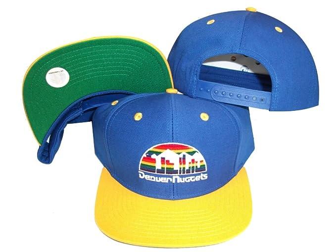 ac54a3506 Denver Nuggets Blue/Yellow Two Tone Snapback Adjustable Plastic Snap Back  Hat / Cap